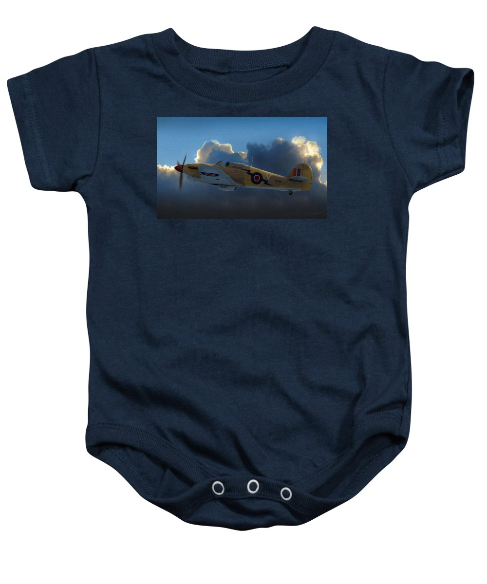 Hawker Hurricane Baby Onesie featuring the digital art Early Morning Patrol by Dale Jackson