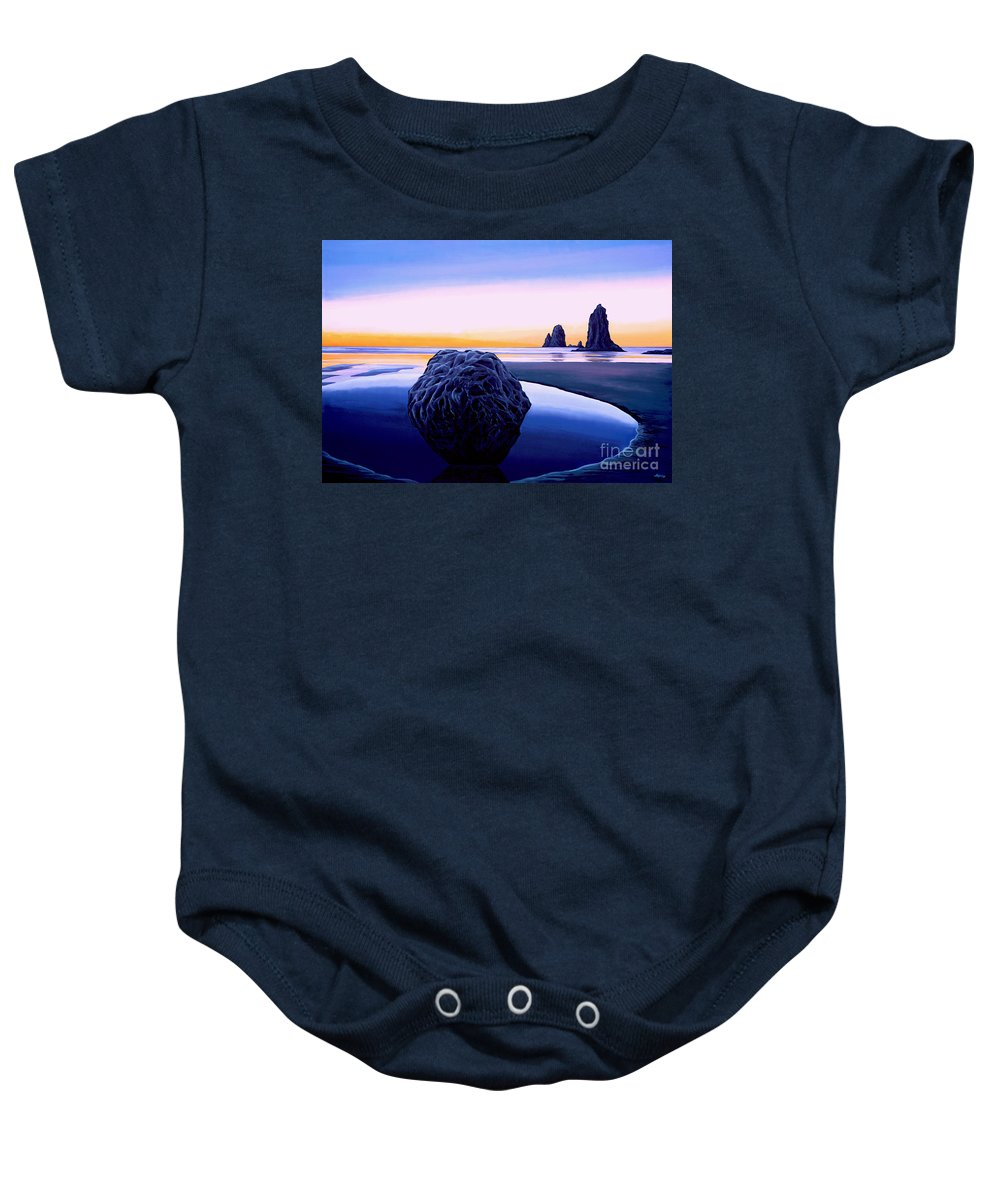 Sunset Baby Onesie featuring the painting Earth Sunrise by Paul Meijering
