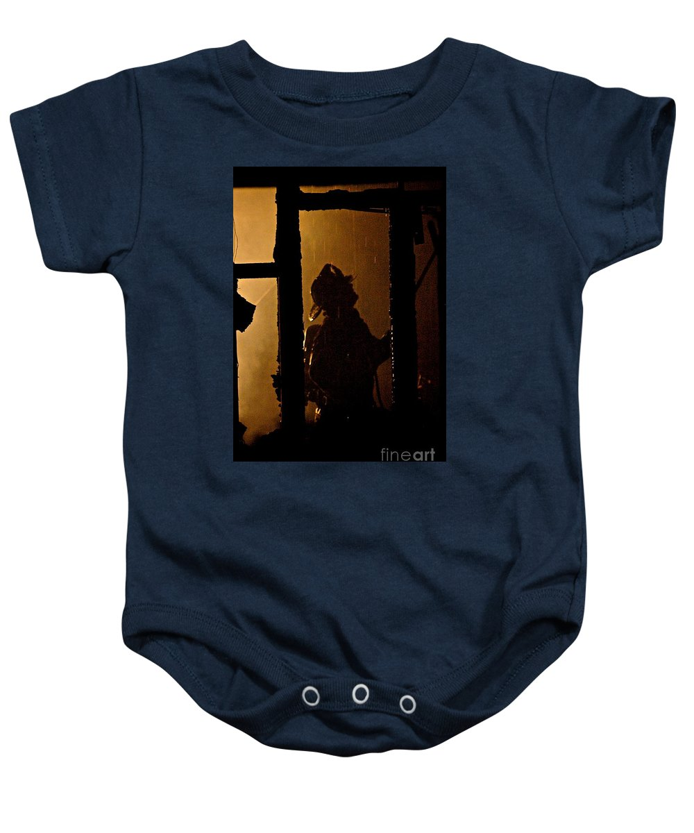 Frank J Casella Baby Onesie featuring the photograph Truck Company Ops. by Frank J Casella