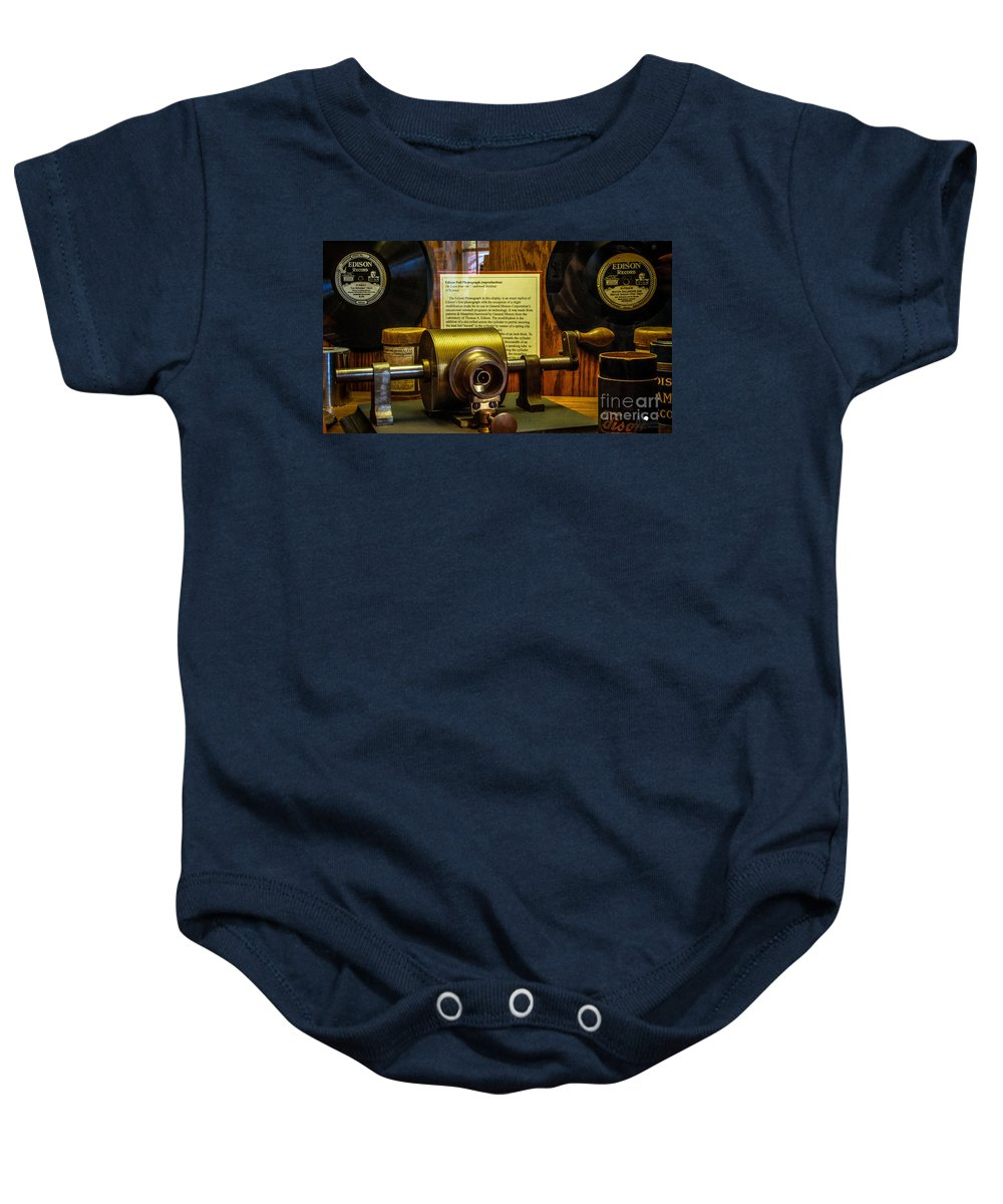 Edison Records Baby Onesie featuring the photograph Edison Foil Phonograph by Grace Grogan