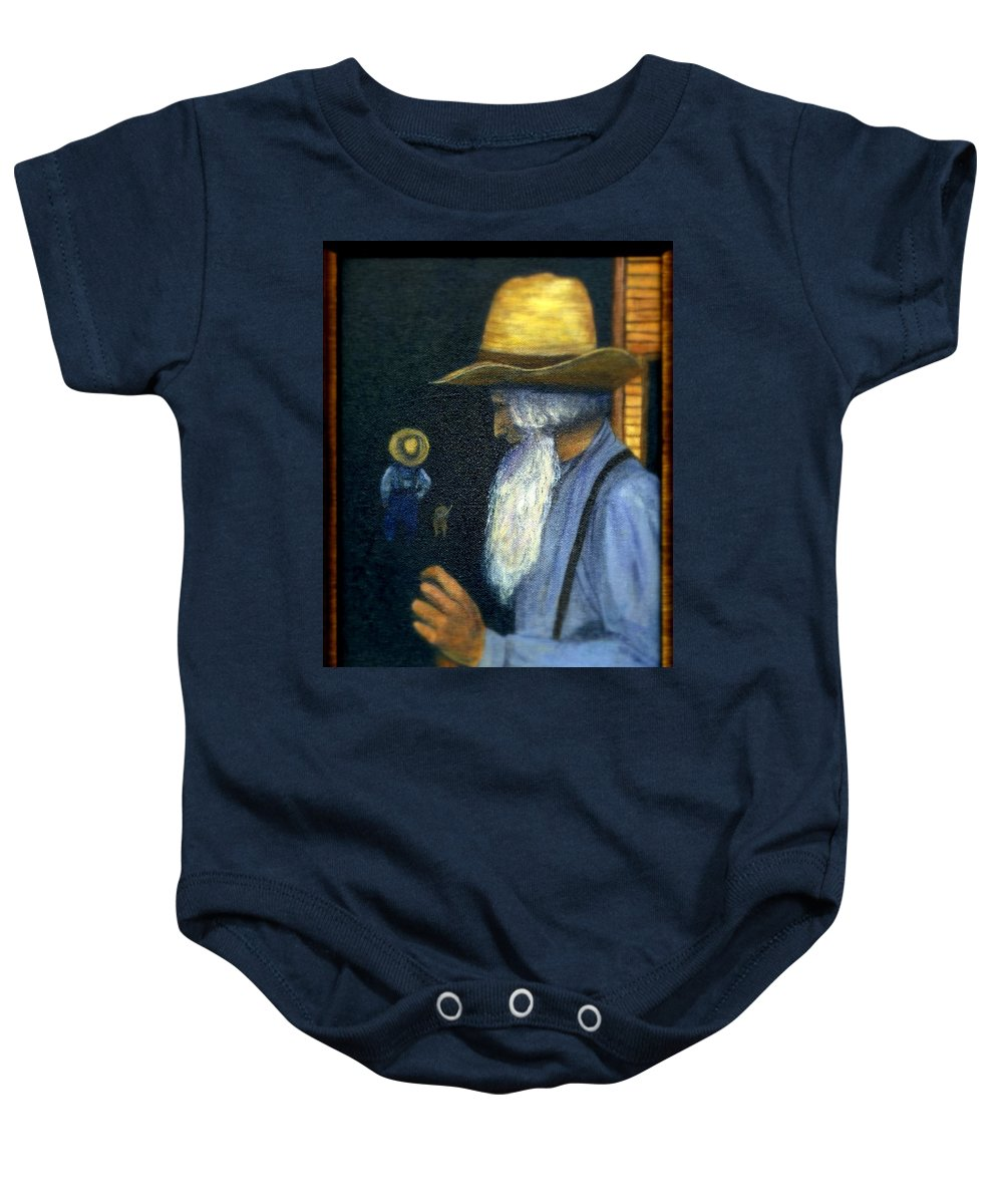 Men Baby Onesie featuring the painting Eli Remembers by Gail Kirtz