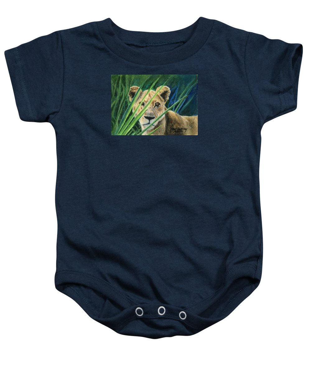 Lion Baby Onesie featuring the painting Elusive by Sherryl Lapping