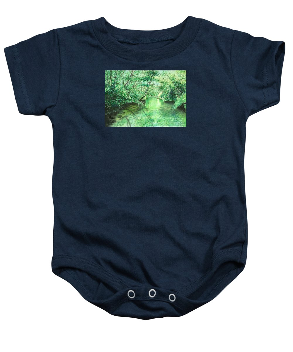 Landscape Baby Onesie featuring the painting Emerald Stream by Lynn Quinn