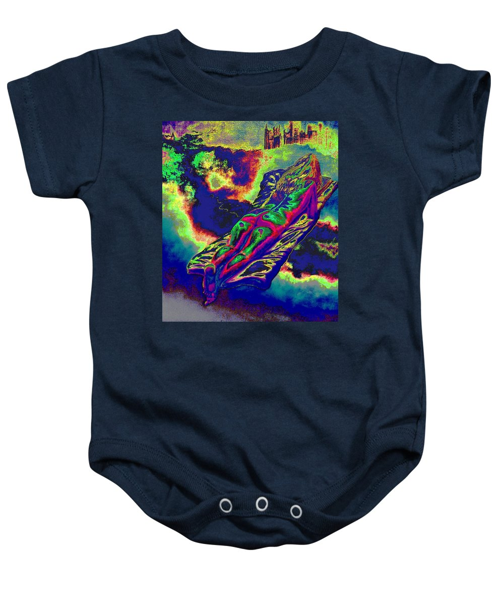 Genio Baby Onesie featuring the mixed media Engulfed In Burning Emotions by Genio GgXpress