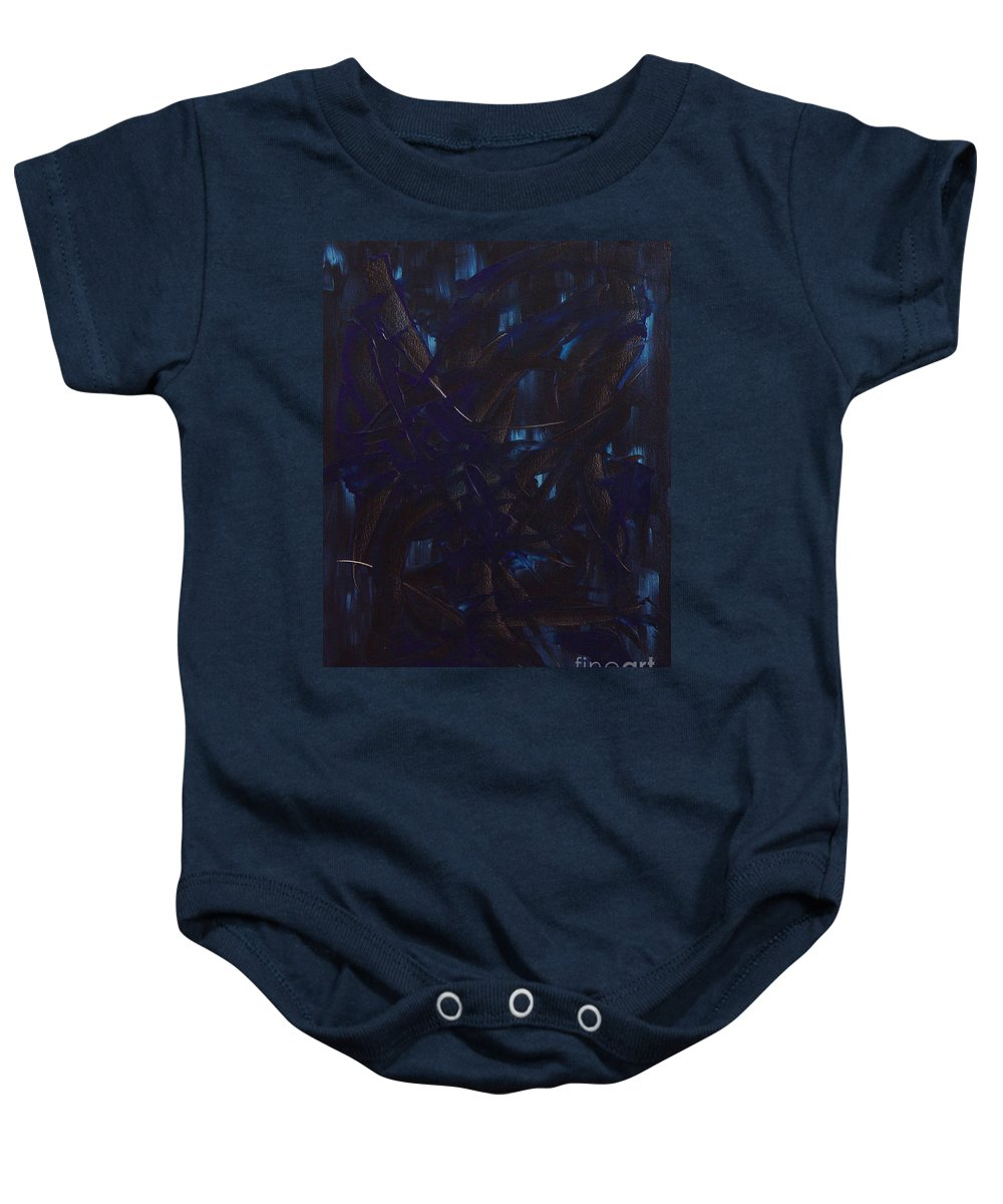 Abstract Baby Onesie featuring the painting Expectations Blue by Dean Triolo