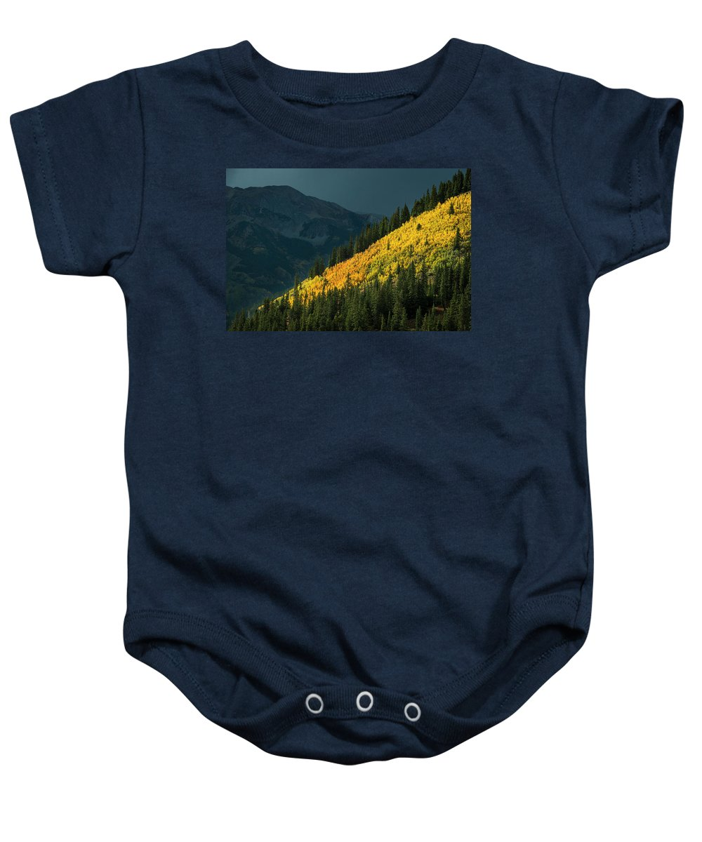 Taylor Pass Baby Onesie featuring the photograph Fall Colors In Aspen Colorado by Brandon Huttenlocher