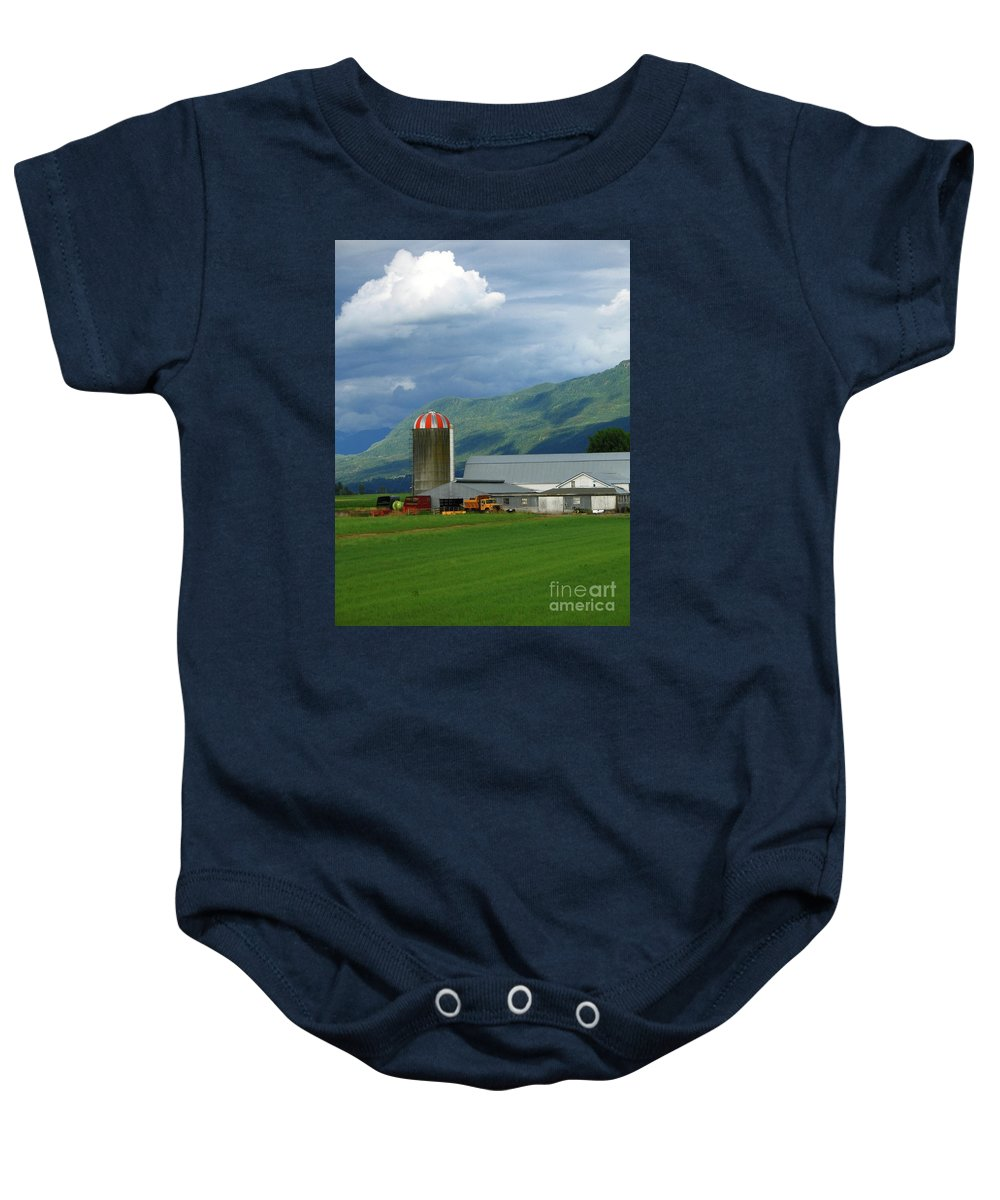 Farm Baby Onesie featuring the photograph Farm In The Valley by Ann Horn