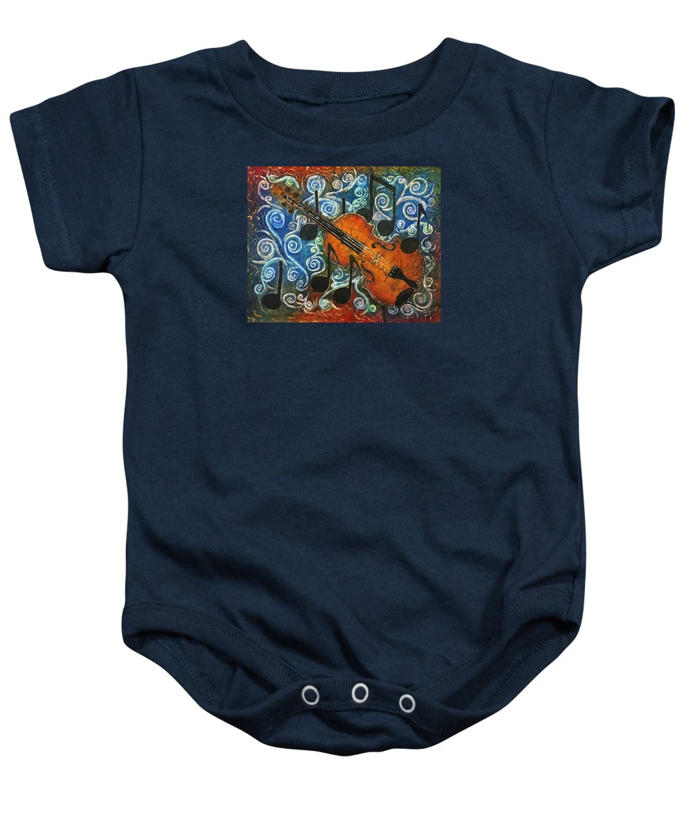 Fiddle Baby Onesie featuring the painting Fiddle 1 by Sue Duda