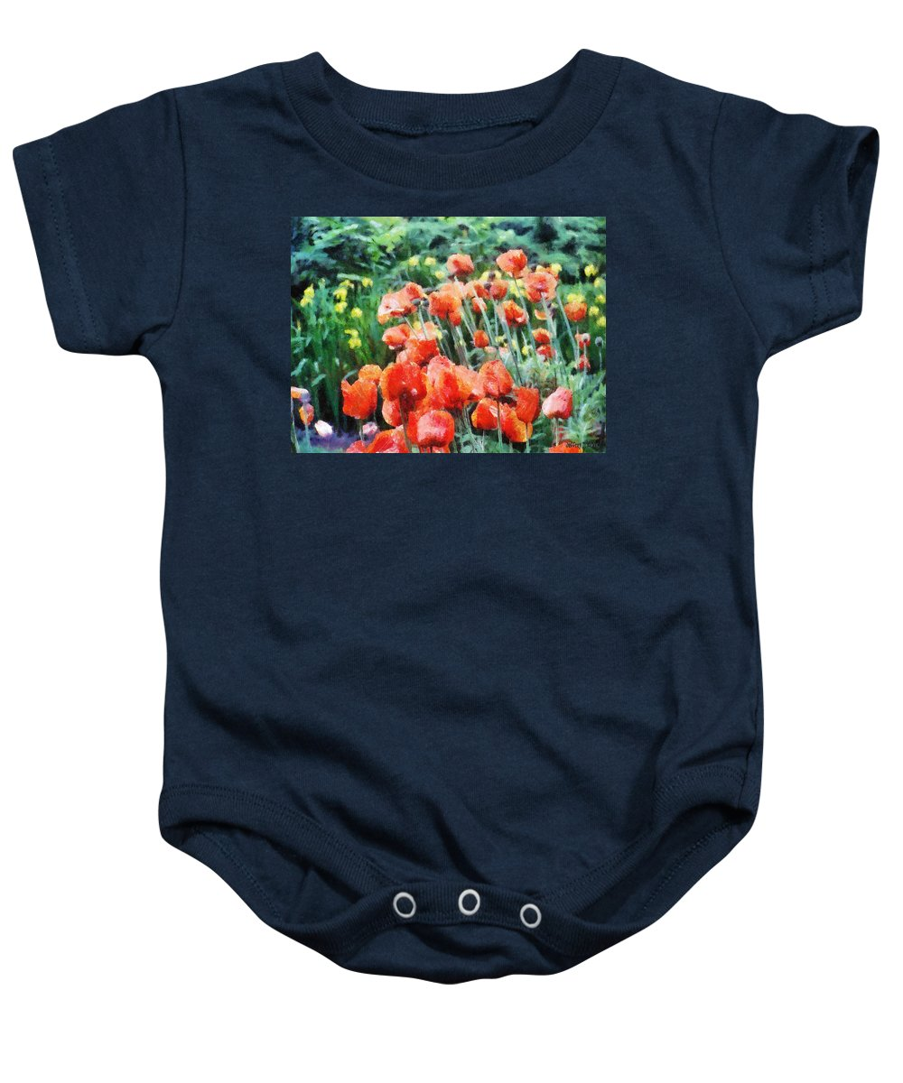 Canadian Baby Onesie featuring the painting Field Of Flowers by Jeffrey Kolker