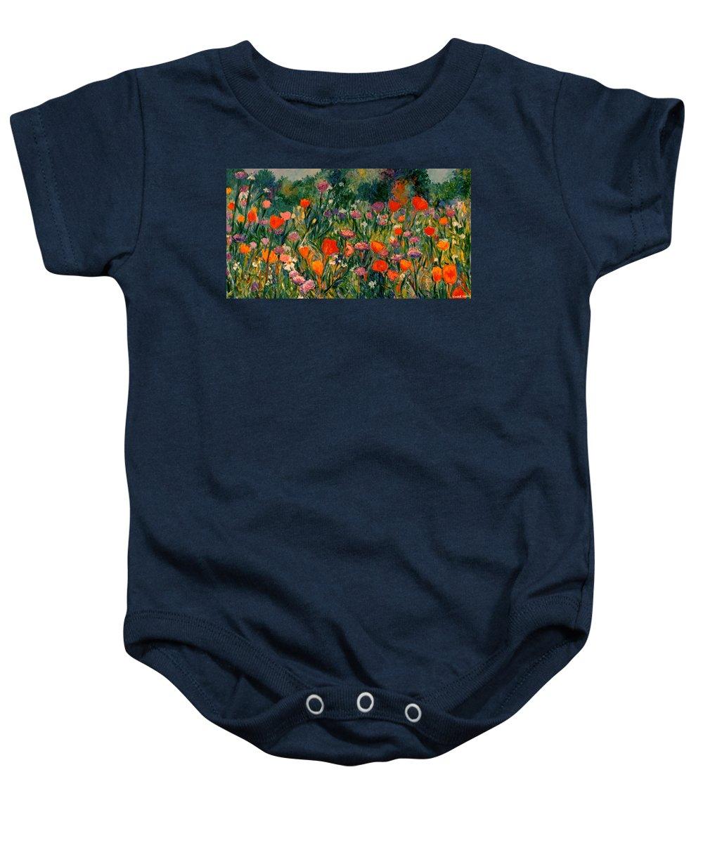 Flowers Baby Onesie featuring the painting Field Of Flowers by Kendall Kessler