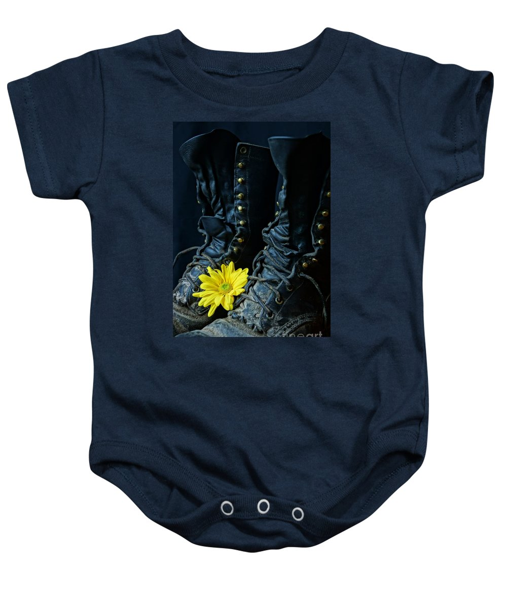 Boot Baby Onesie featuring the photograph Fire Boots Hdr by Kerri Mortenson