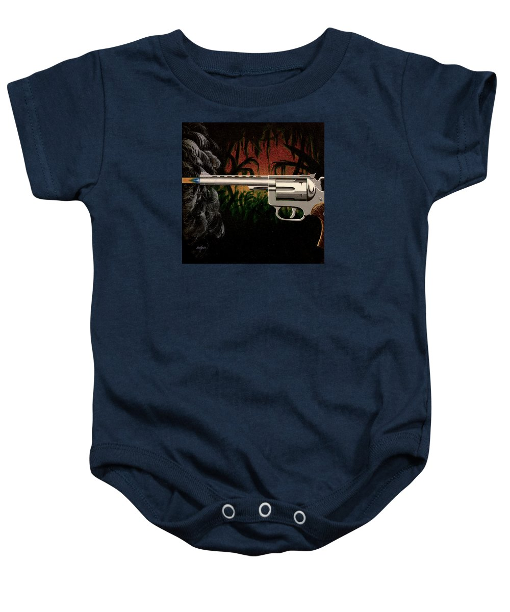 Gun Baby Onesie featuring the painting Fire In The Jungle by Jack Malloch