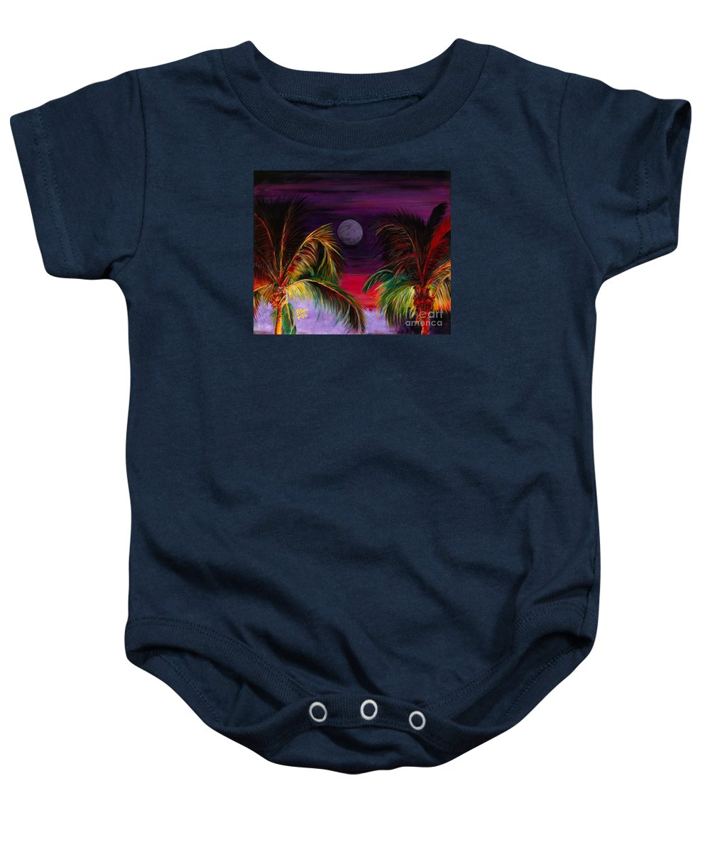 Scenery Baby Onesie featuring the painting Fire Palms II by Dr B Lynn Tillman