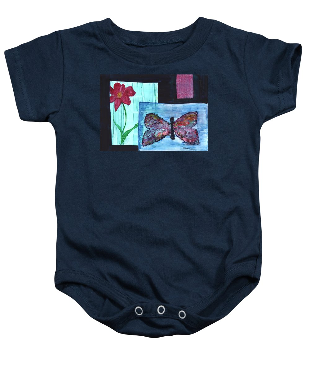 Butterfly Baby Onesie featuring the painting Flower And Butterfly by Mickey Krause