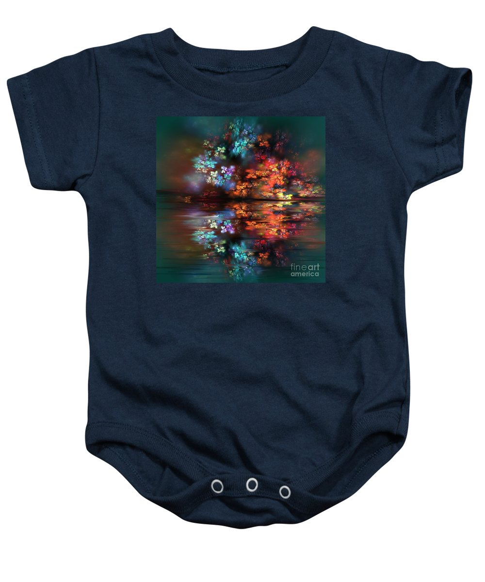 Magical Baby Onesie featuring the painting Flowers Of The Night by Greg Moores