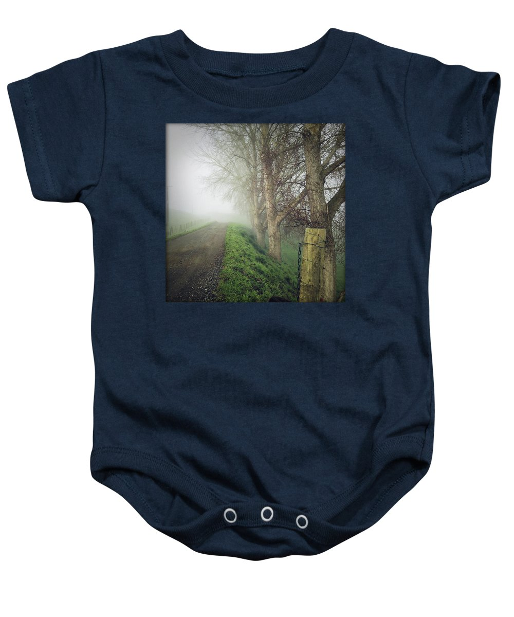 Autumn Baby Onesie featuring the photograph Foggy Trail by Les Cunliffe