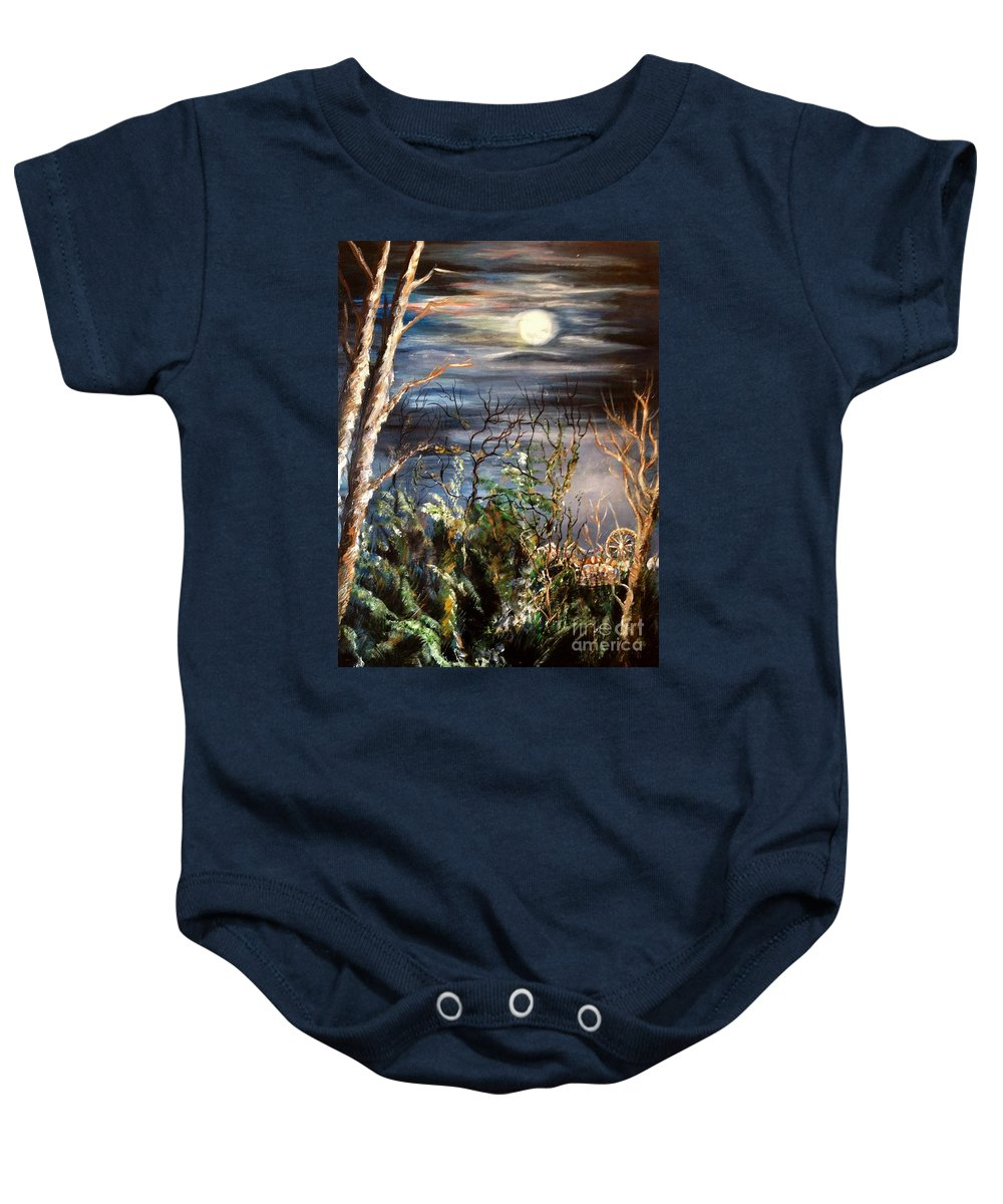 Carnival Baby Onesie featuring the painting Follow The Lights by Karen Ferrand Carroll