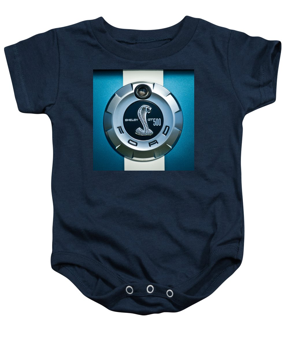 Ford Shelby Gt 500 Cobra Baby Onesie featuring the photograph Ford Shelby Gt 500 Cobra Emblem by Jill Reger
