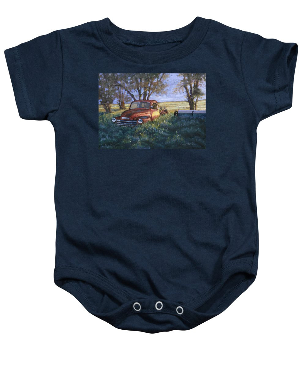 Pickup Truck Baby Onesie featuring the painting Forgotten But Still Good by Jerry McElroy