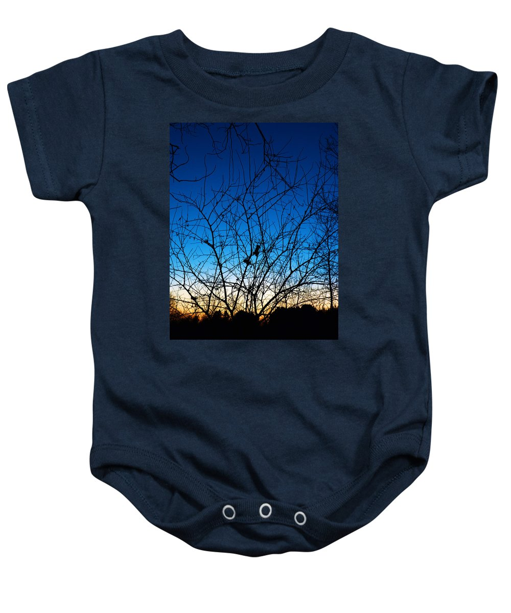 Tree Baby Onesie featuring the photograph Fractured Sunset by Gary Mosman