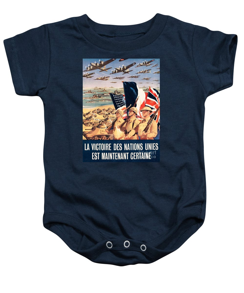 History; Africa; Algeria; Poster; Triumph; Victory; Centuries; Twentieth Century; Twentieth Century The Forties Baby Onesie featuring the drawing French Propaganda Poster Published In Algeria From World War II 1943 by Anonymous