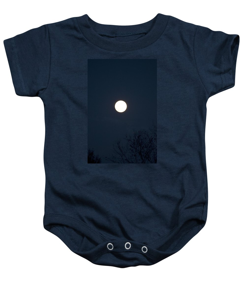 Color Baby Onesie featuring the photograph Full Moon With Tree Branches Night Usa by Sally Rockefeller