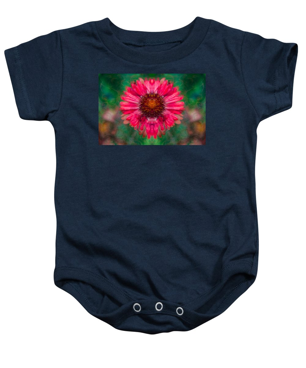 North Cascades Baby Onesie featuring the painting Fuscia Queen by Omaste Witkowski