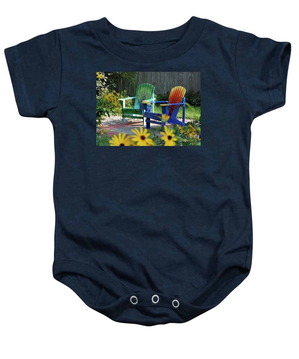 First Star Baby Onesie featuring the painting Garden Chairs by First Star Art