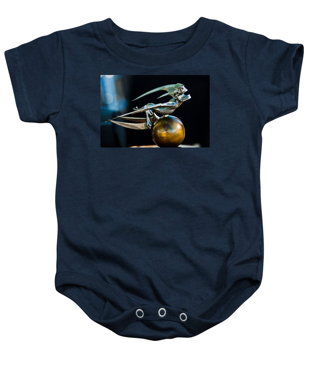 1941 Chevrolet Pickup Baby Onesie featuring the photograph Gargoyle Hood Ornament by Jill Reger