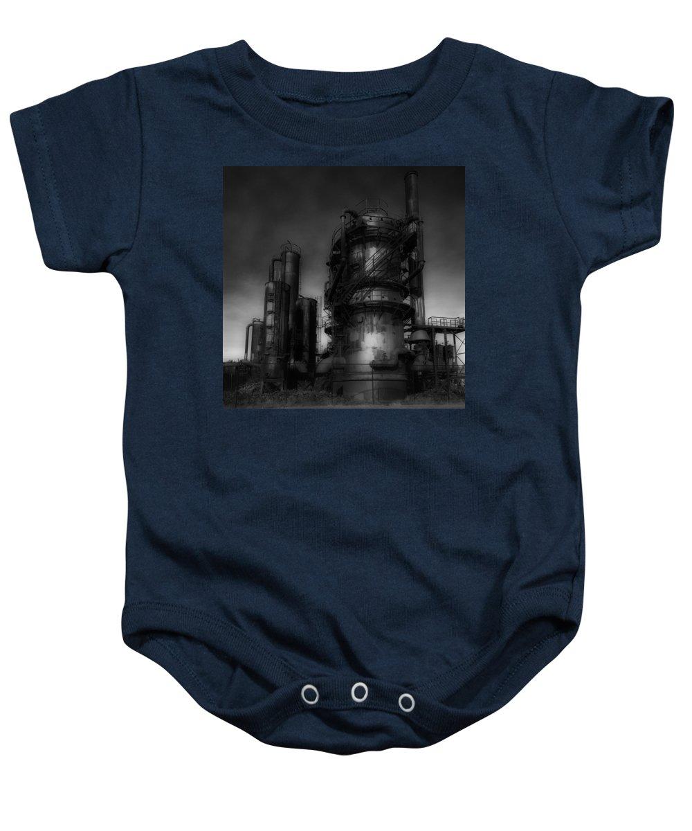 Steampunk Baby Onesie featuring the photograph Gas Works Park by Gary Silverstein