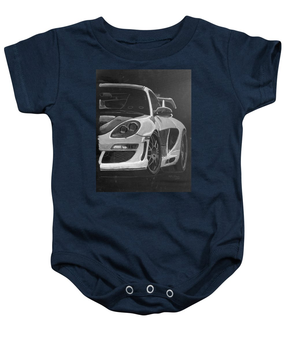 Car Baby Onesie featuring the painting Gemballa Porsche Left by Richard Le Page