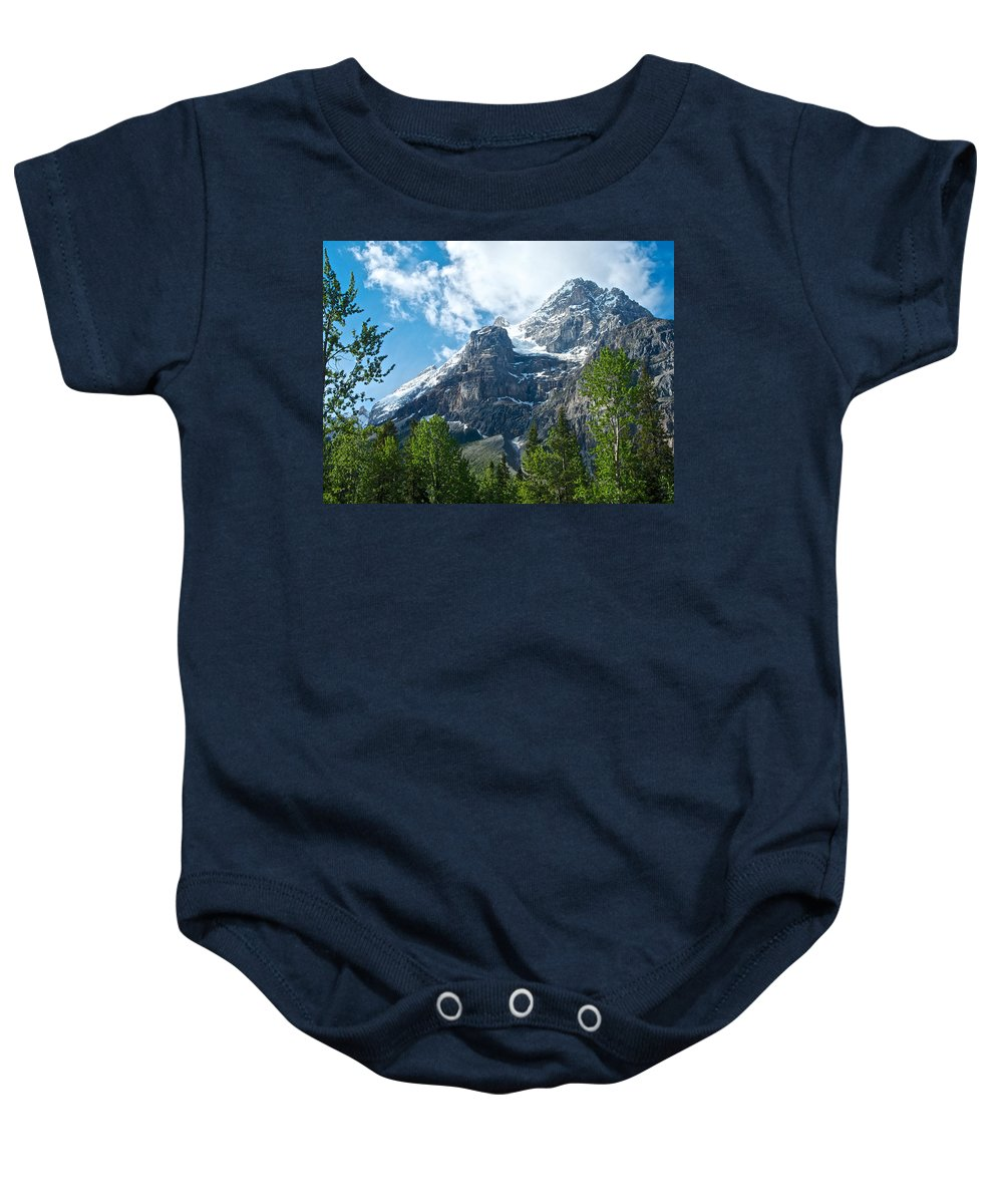 Glacier Seen From Kicking Horse Campground In Yoho Np Baby Onesie featuring the photograph Glacier Seen From Kicking Horse Campground In Yoho Np-bc by Ruth Hager