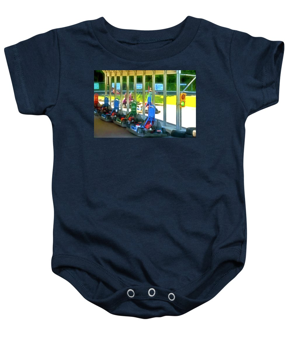 Go-karts Baby Onesie featuring the painting Go-karts by Jeelan Clark