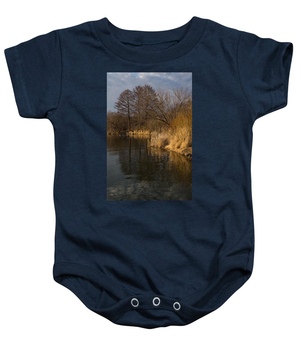 Golden Baby Onesie featuring the photograph Golden Afternoon Reflections by Georgia Mizuleva