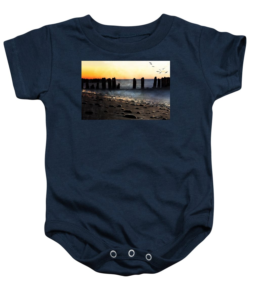 Evie Baby Onesie featuring the photograph Golden Sky Whitefish Point Michigan by Evie Carrier