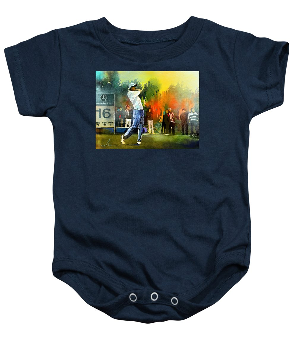 Golf Baby Onesie featuring the painting Golf In Gut Laerchehof Germany 01 by Miki De Goodaboom