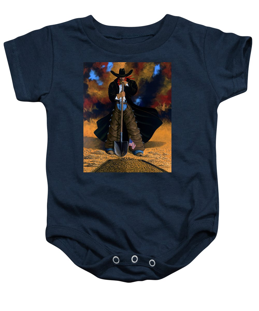 Cowgirl Baby Onesie featuring the painting Gone Too Soon by Lance Headlee