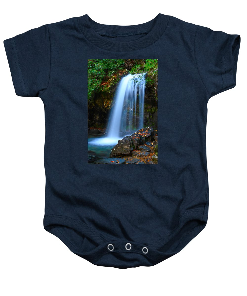 Waterfalls Baby Onesie featuring the photograph Grotto Falls by Nunweiler Photography