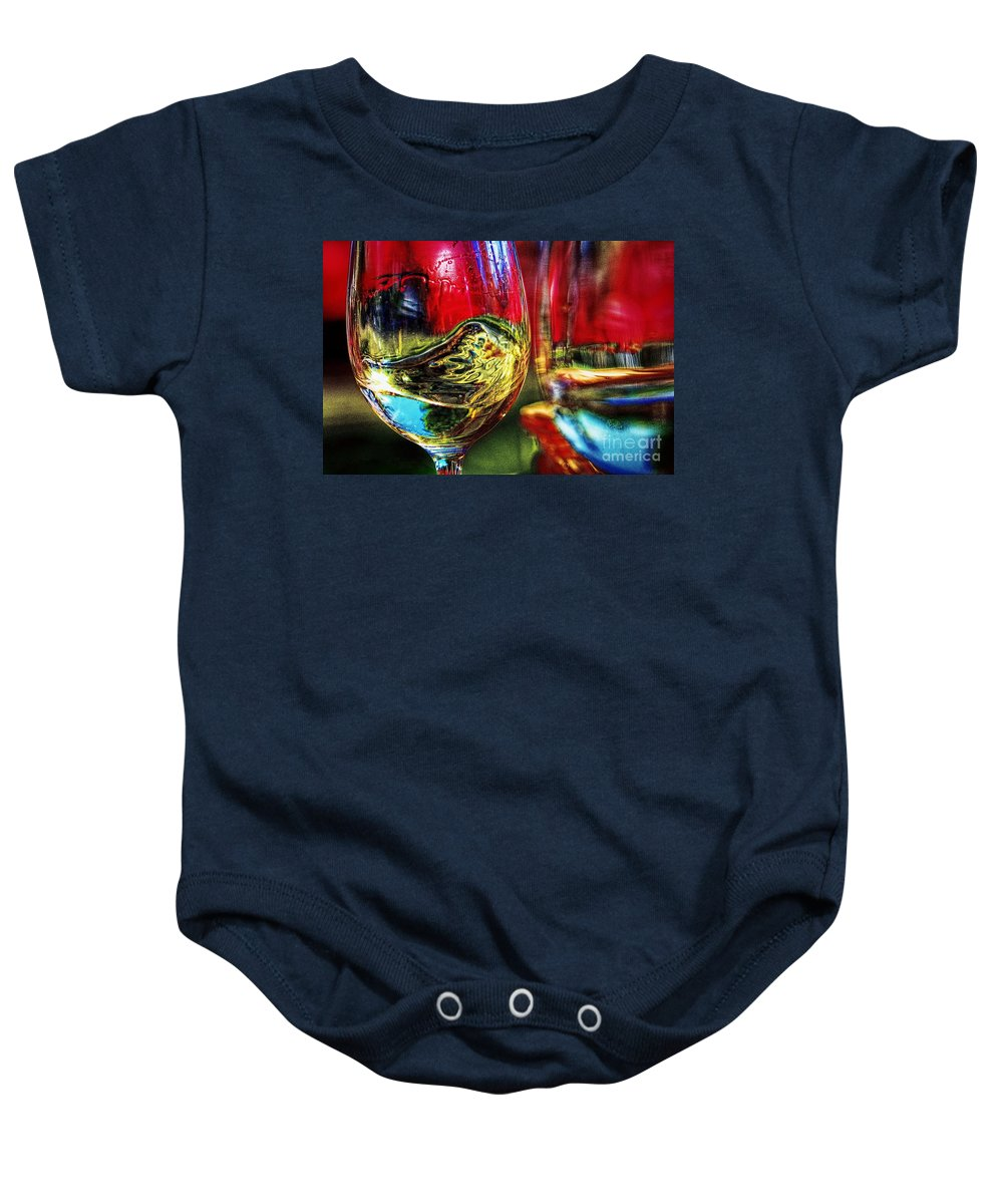 Two For One Baby Onesie featuring the digital art Happy Hour 2 For 1 by Davids Digits