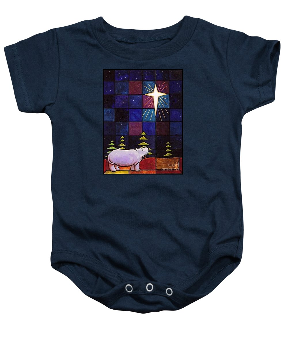 Christmas Baby Onesie featuring the painting Hippo Awe And Wonder by Jim Harris
