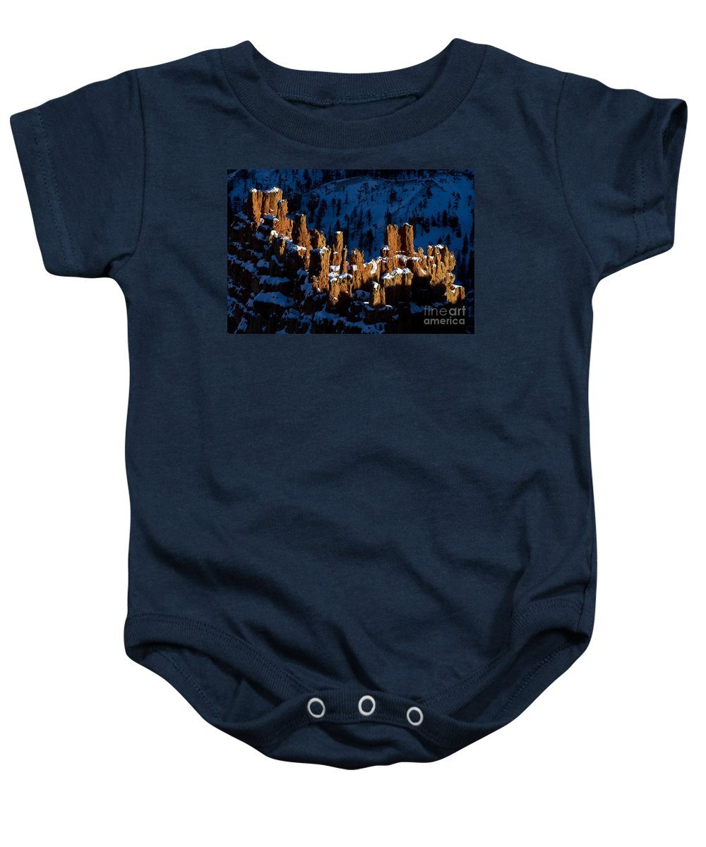 Bryce Canyon Baby Onesie featuring the photograph Hoodoos In Shadows Bryce Canyon National Park Utah by Jason O Watson