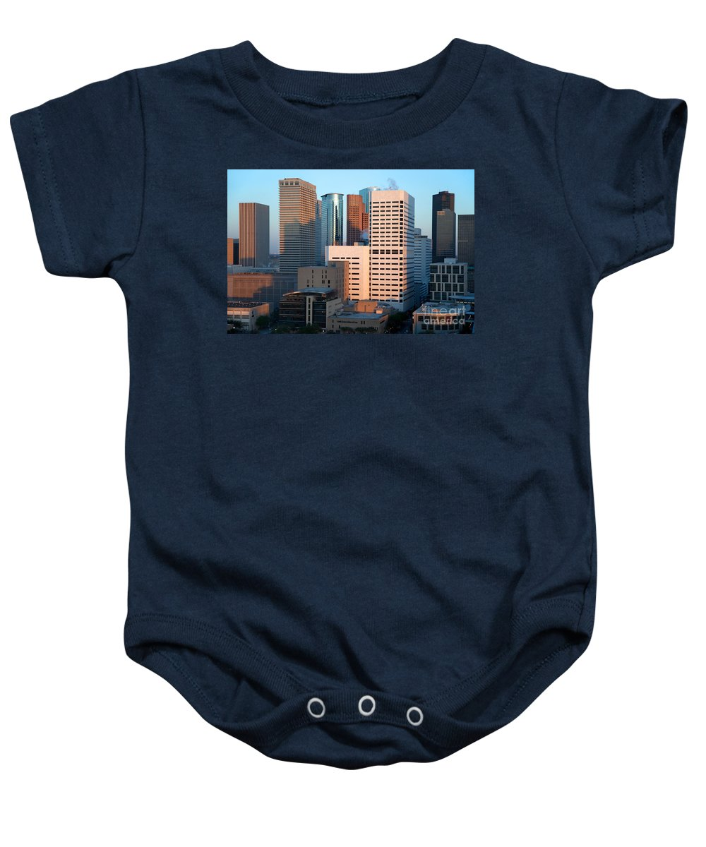 Houston Baby Onesie featuring the photograph Houston Financial District by Bill Cobb