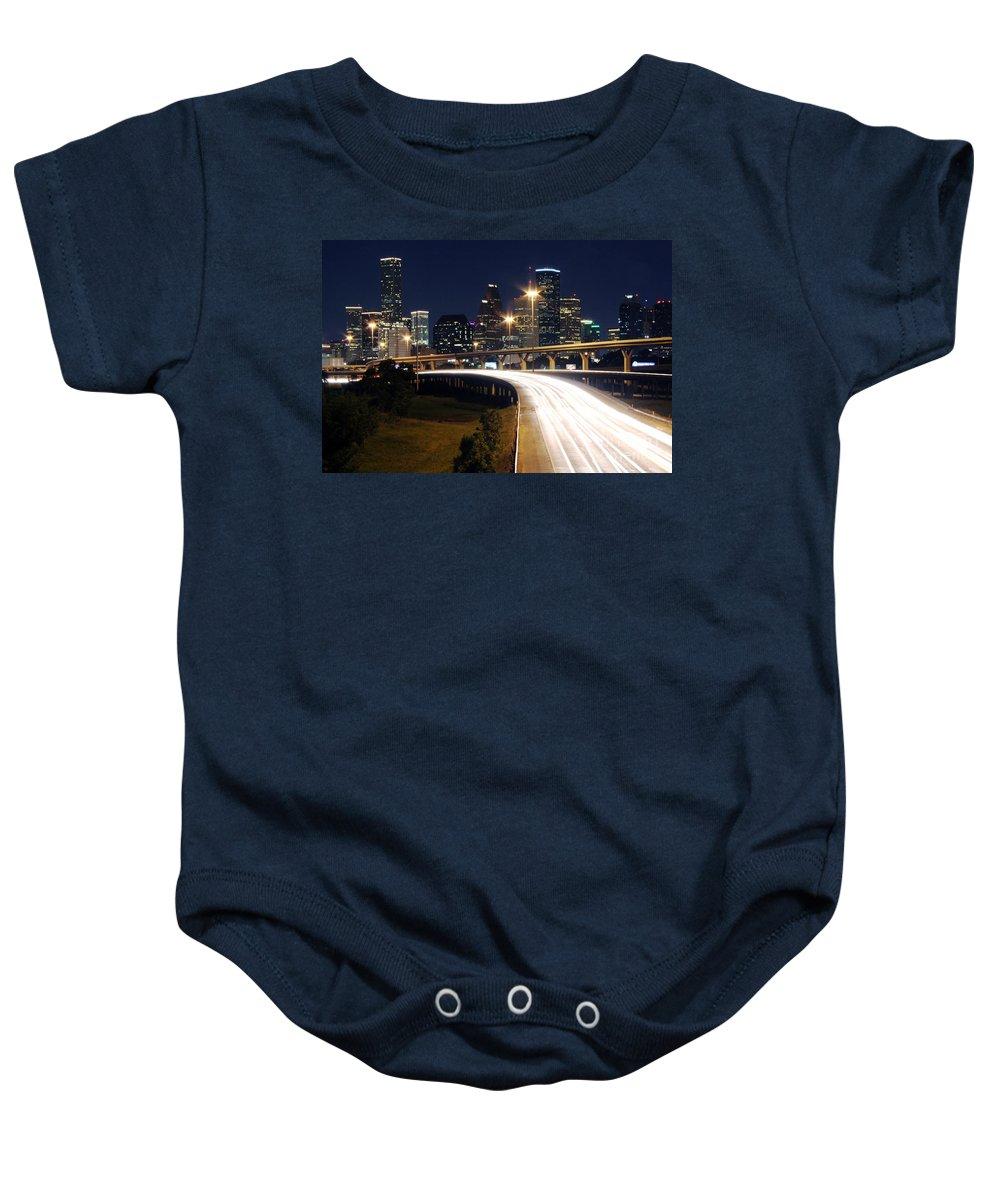 Houston Baby Onesie featuring the photograph Houston Skyline At Dusk by Bill Cobb