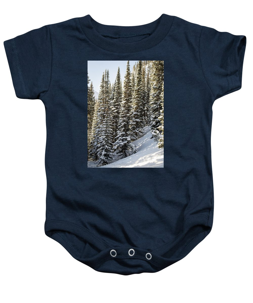 Winter Baby Onesie featuring the photograph Icing On The Trees by Debra Powell