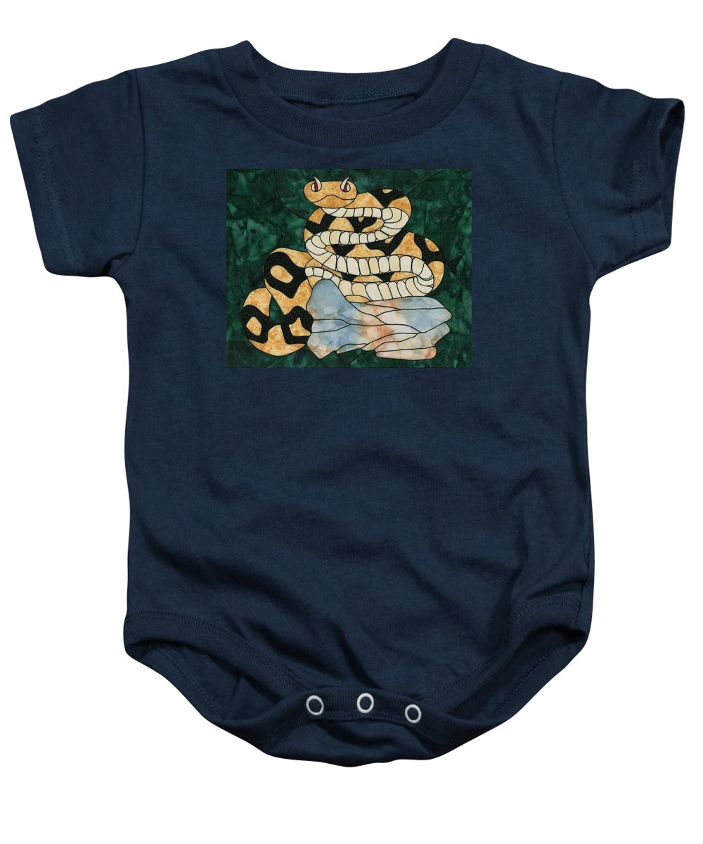 Fabric Baby Onesie featuring the tapestry - textile In The Garden by Sue Brehm