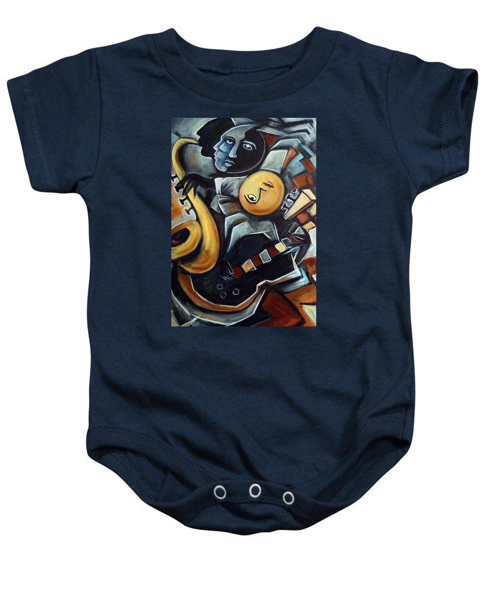 Cubism Baby Onesie featuring the painting Indigo Blues by Valerie Vescovi