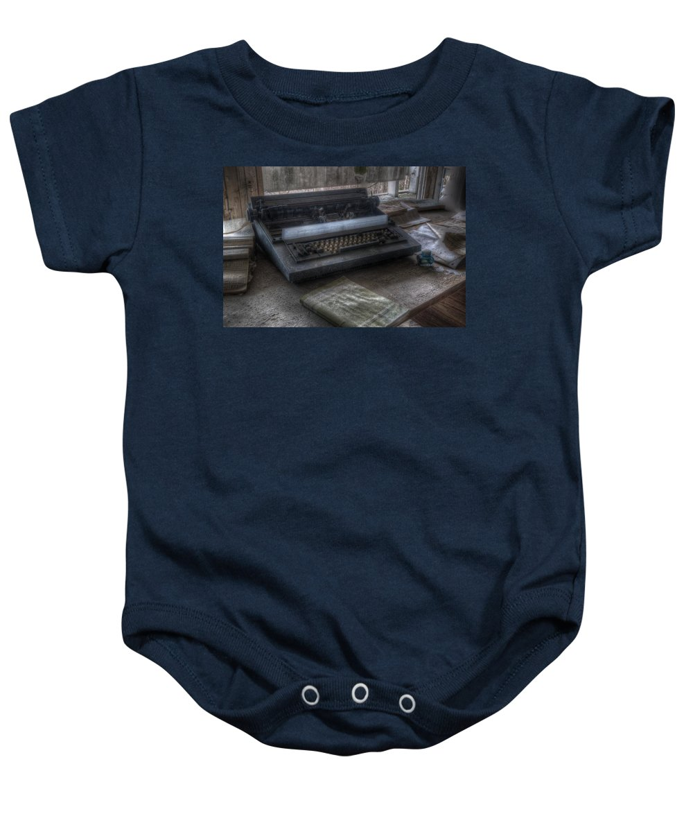 Berlin Baby Onesie featuring the digital art Iraq Typewriter by Nathan Wright