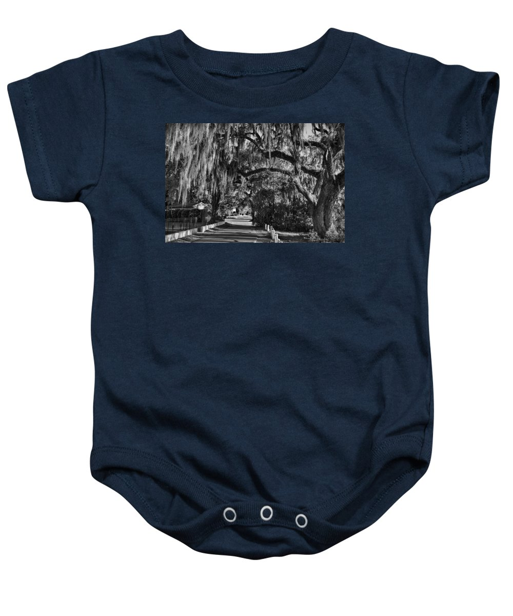 Tybee Island Baby Onesie featuring the photograph Isle Of Hope Bw by Diana Powell