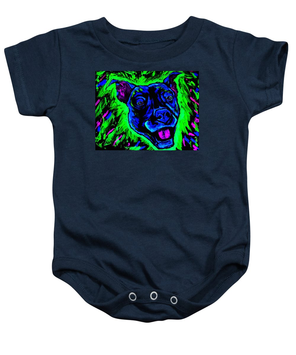 Pitbull Baby Onesie featuring the painting It's A Pitty Black Light by Lisa Brandel