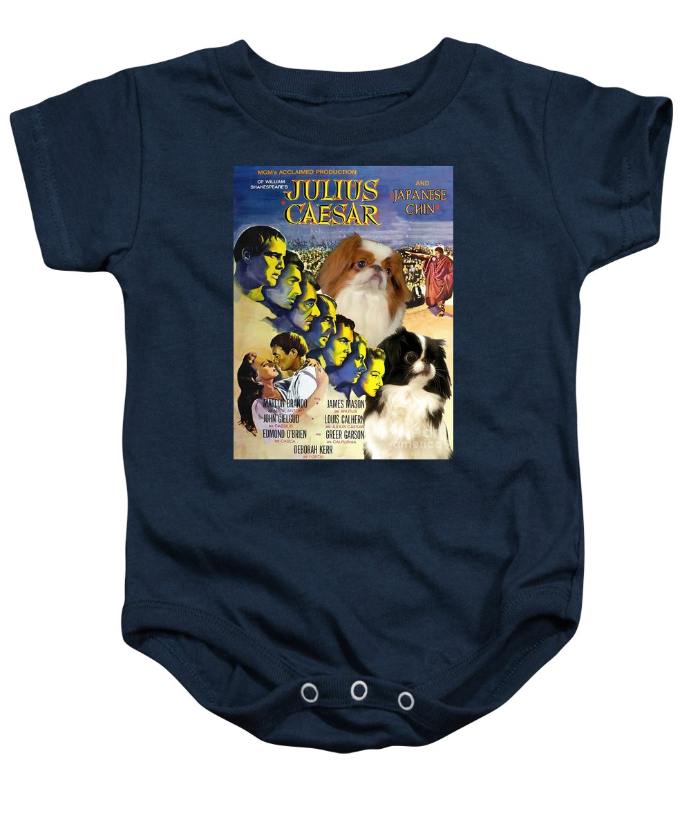 Japanese Chin Baby Onesie featuring the painting Japanese Chin Art - Julius Caesar Movie Poster by Sandra Sij